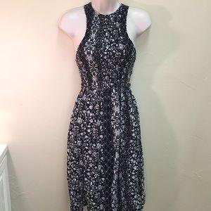 Mimi Chica - Black & Tan floral tank dress-POCKETS